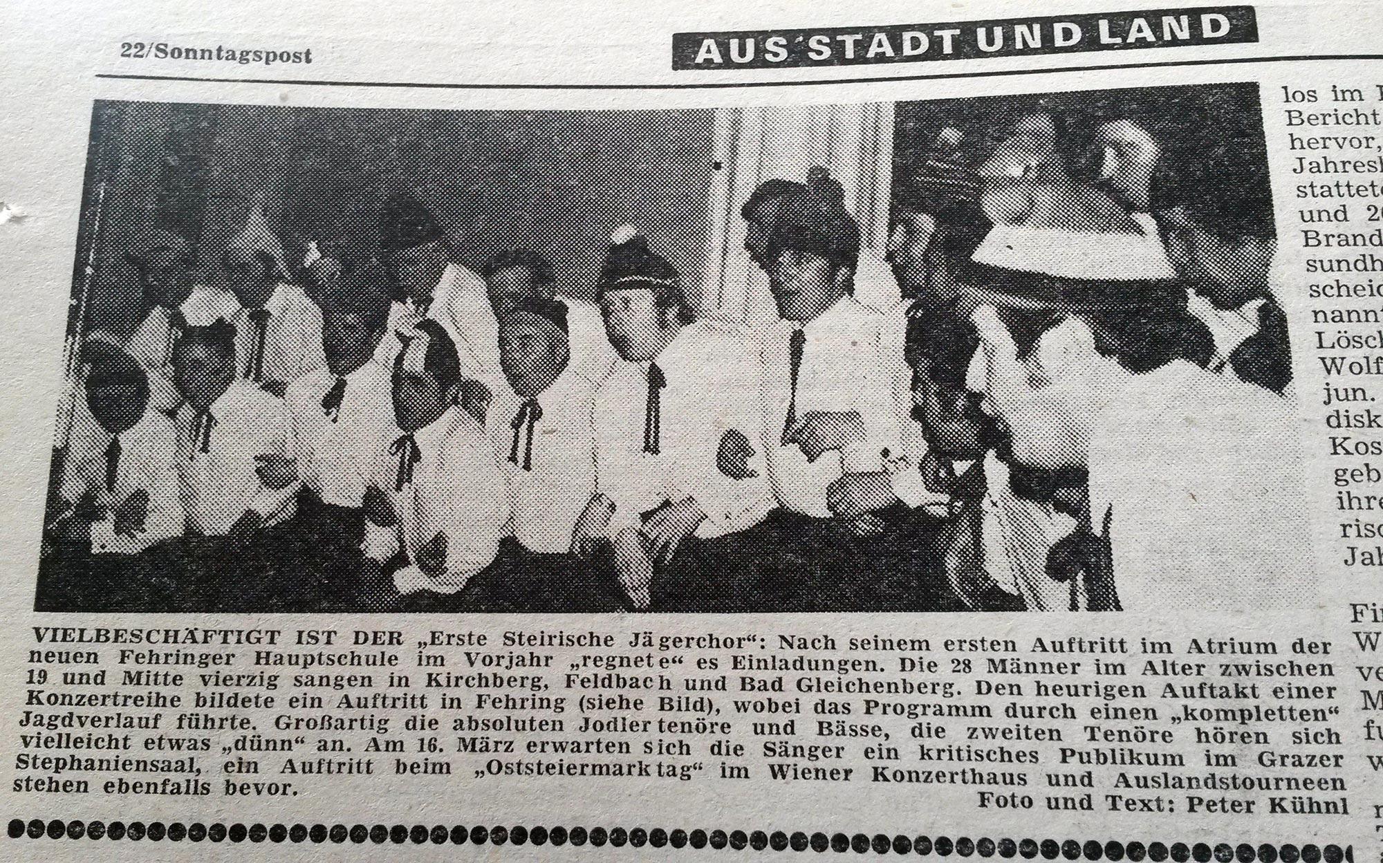 Der Steierische Jägerchor im Jahr 1974